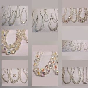 Vintage Jewelry - Collection of AB necklaces *brides* PM 507